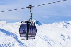 Cabins cableway ski resort of Val Thorens Royalty Free Stock Images
