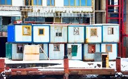 Cabins on a construction site stock images