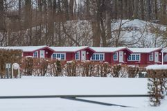 Cabins in the Danish nature. During winter Royalty Free Stock Images