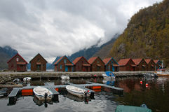 Cabins at the fjord marine Royalty Free Stock Images