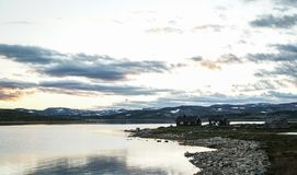 Cabins at The Hardangervidda Mountain. In Norway Royalty Free Stock Photos