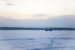 Cabins on the ice Royalty Free Stock Images