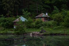 Cabins by the lake stock photo