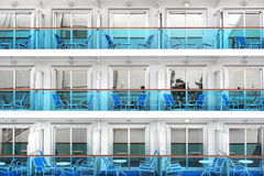 Cabins of a modern cruise ship. Cabins with balconies of a modern cruise ship stock photos
