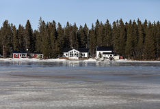 Cabins at the ocean Royalty Free Stock Photography