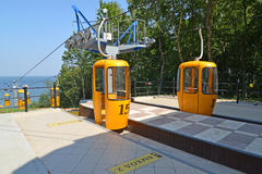 Cabins on a ropeway platform in Svetlogorsk, Russia Stock Images