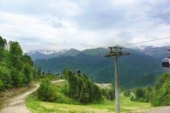 Cabins ropeway ski resort Royalty Free Stock Photo