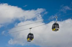 Cabins of ski lift. The ski resort Schladming . Austria. Cabins of ski lift Royalty Free Stock Images