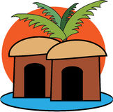 Cabins under a palmtree. Conceptual illustration of cabins under a palmtree Royalty Free Stock Photos