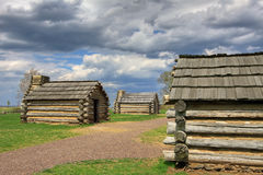 Cabins at Valley Forge. Reproductions of cabins used by Revolutionary War soldiers during the winter of 1777-78 under the command of George Washington. Located stock photo
