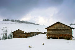 Cabins in winter Royalty Free Stock Images