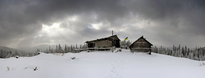Cabins in winter Stock Photography