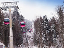 A cablaway with cable cars. In a mountain area Royalty Free Stock Images