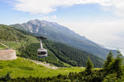 A cablaway  in summer mountains Stock Images