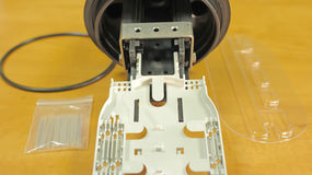 Cable óptico conectivo de la manga de la bandeja Imagen de archivo