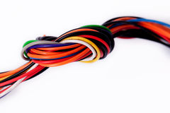 Cable. Multicolored computer cable isolated on white background stock photo