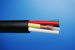 Cable. Colorful cable with blue background Royalty Free Stock Image