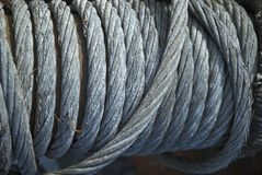 Cable. Thick industrial steel cable detail background Stock Images