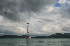 Cable above the sea in nha trang,vietnam Stock Photo