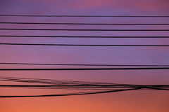 Cable against twilight sky background. Royalty Free Stock Photos