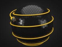 Cable amarillo de Internet alrededor de la esfera de la tecnología el ejemplo conceptual 3d del cable de Ethernet y rj-45 tapan Fotos de archivo