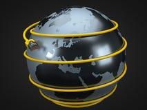 Cable amarillo de Internet alrededor de la tierra el ejemplo conceptual 3d del cable de Ethernet y rj-45 tapan Imágenes de archivo libres de regalías