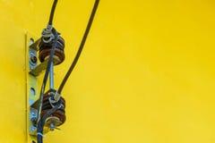 Cable amarillo de la pared Fotografía de archivo libre de regalías