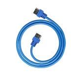 Cable azul del usb Imagen de archivo
