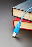 Cable azul del usb en los libros Fotografía de archivo libre de regalías