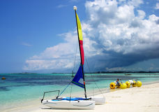 Cable Beach. The popular Cable beach with water sport inventory in Nassau , the capital of The Bahamas Royalty Free Stock Photo