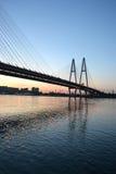 Cable-braced bridge across the river Neva Royalty Free Stock Photos
