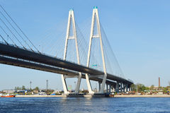 Cable-braced bridge in St.Petersburg. Stock Image