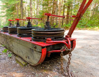 A cable brake used in the logging industry in the past. A device used to assist heavy loads down hills as seen at a logging museum in northern canada stock image