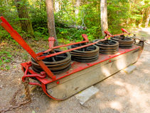 A cable brake used in the logging industry in the past. A device used to assist heavy loads down hills as seen at a logging museum in northern canada royalty free stock photos