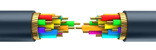 Cable break. 3d illustration of data cable break over white background Stock Photo