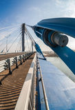 Cable bridge across the Samara river Royalty Free Stock Image