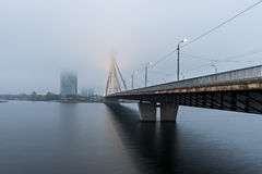The cable bridge in center of Riga city, Latvia, Europe Stock Image