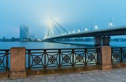 The cable bridge in center of Riga city, Latvia, Europe Royalty Free Stock Photo