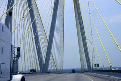 Cable bridge detail in Texas with truck Royalty Free Stock Photos