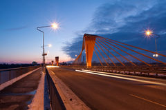 Cable bridge at evening Royalty Free Stock Photography