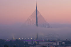 Cable bridge in fog at morning, Belgrade Stock Photos