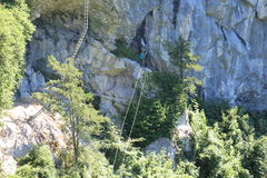 Cable bridge and ladder in Trattenbacher Klettersteig - Beisteinmauer Royalty Free Stock Image