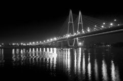 Cable bridge at night. (black and white long exposure photo Stock Photo