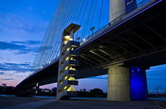 Cable bridge over Sava river at twilight, Belgrade Royalty Free Stock Images