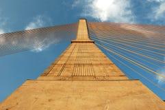 Cable bridge pylon Stock Images