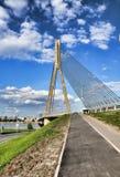 Cable bridge in Riga stock photography