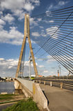 Cable bridge in Riga Stock Photo