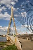 Cable bridge in Riga stock photo