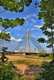 Cable bridge in Riga stock photos
