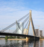 Cable bridge and Daugava river, Riga - Latvia Royalty Free Stock Photo
